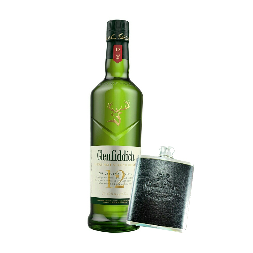Bundle - Glenfiddich 12YO and Hip Flask